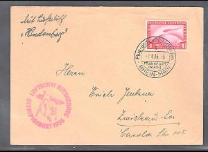 Zeppelin-Brief Olympiadefahrt 1936 mit EF. Mi.-Nr. 455