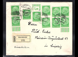 DR. R-Brief mit MeF. Mi.-Nr. 515, 1 x mit W. OR.