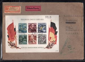 DDR. Auslandbrief mit EF. Block 13 , zensiert.