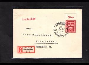DR.,R-Fernbrief mit EF. Mi.-Nr. 829 OR.