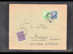 DR., Auslandbrief mit MiF. Mi.-Nr. 529 + 532 nach Jugoslawien mit Lagergebühr.