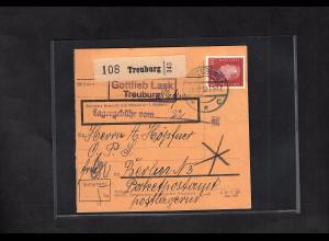 DR., Paketkarte mit EF. Mi.-Nr. 421 + Lagergebühr.