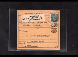 DR., Paketkarte mit EF. Mi.-Nr. 363 mit Ak-St.