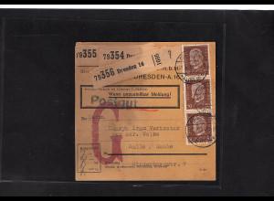 DR., Paketkarte für 3 Pakete/Postgut mit MeF. Mi.-Nr. 421