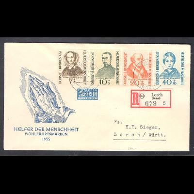Bund , FDC. Mi.-Nr. 222-225 als R-Brief gelaufen mit Ak-St.