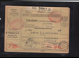 DR., Ausland-Paketkarte mit Gebühr bezahlt aus Breslau
