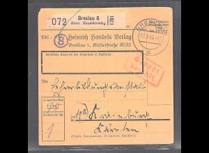 DR., Paketkarte mit Gebühr bezahlt aus BreslauSelbstbucher
