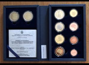 San Marino KMS Kursmünzensatz 2015 + 2x 2 Euro Dante Wiedervereinigung