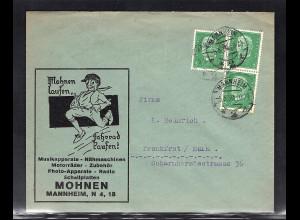DR., Reklame-Brief Musikapparate-Nähmaschinen... Mohnen, Mannheim