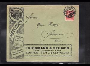 DR., Reklame-Brief Büroeinrichtung Friedmann & Seumer Mannheim.
