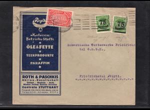 DR., Reklame-Brief Motoren Betriebsstoffe Roth & Paschkis, Stuttgart.