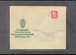 DR., Reklame-Brief Zigaretenfabrik G. Zuban, München.