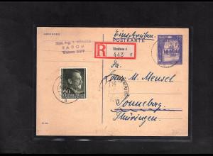 GG., Ganzsache Mi.-Nr. P 10 als R-Karte gelaufen mit AK-St.