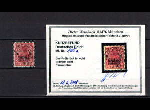 DR., Mi.-Nr. 105 a, Luxus gestempelt, Kurzbefund. TworekBPP.