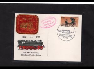 DDR - Gedenktkarte, 100 Jahre Eisenbahn Schönberg-Schleiz