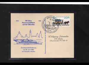 DDR - Gedenktkarte, 150 Jahre Personenschiffahrt auf der Oberelbe