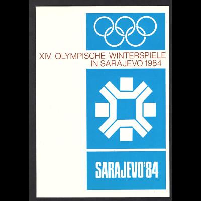 DDR - Gedenkblatt, XIV Olympische Winterspiele in Sarajevo 1984, D-1983-4
