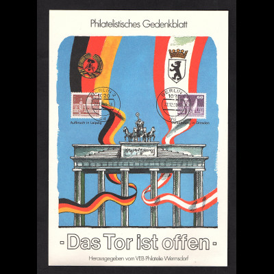 DDR - Gedenkblatt, Das Tor ist Offen, B46-1989