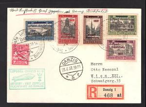 Zeppelin-Karte, Luposta Danzig 1932 Rückfahrt mit Mi.-Nr: 231-235
