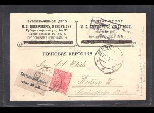 Bes, 1. Weltkrieg Gebührenmarke 30 K. mit Zufrankatur Germania 10 Pf nach Berlin