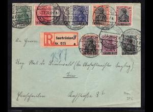 Saargebiet R-Brief mit Mi.-Nr. 10 u.a. mit AK-st.
