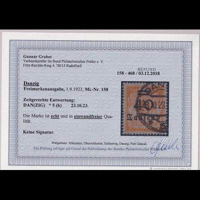 Danzig, Mi.-Nr. 158, gestempelt, Befund, GruberBPP.