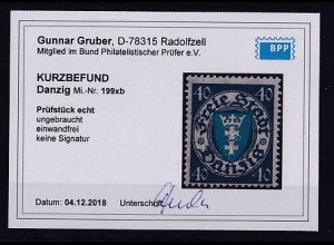 Danzig, Mi.-Nr. 199xb ungebraucht, KB, GruberBPP.