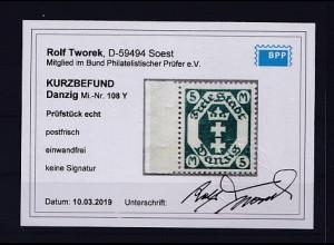 Danzig, Mi.-Nr. 108 Y, postfrisch, KB. TworekBPP.