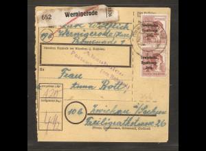 SBZ, Mi.-Nr. A 195 Me.F auf Paketkarte.