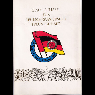 DDR - Gedenkblatt, Gesellschaft für Deutsch - Sowjetische Freundschaft