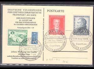 Alliierte Besetzung/Bizone Mi.-Nr. 108-110 auf Goethe -Festkarte
