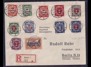Danzig, R-Satz-Fern-Brief mit Mi.-Nr. 220-230
