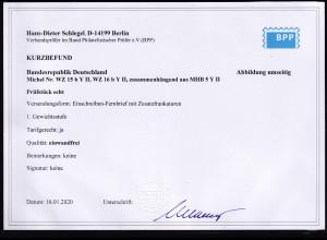 Bund, R-Fernbrief mit Mi.-Nr. WZ 15 b Y II,WZ 16 b Y II, Befund. SchlegelBPP