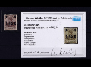 DR, Mi.-Nr. 154 I b, postfrisch, KB. WinklerBPP.