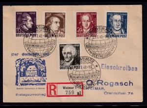 SBZ.Geburtstag von Goethe, Mi.-Nr. 234-238 als R-FDC.