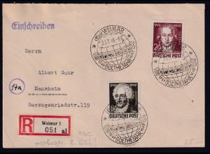 SBZ.Geburtstag von Goethe, Mi.-Nr. ex. 234-238 als R-Satz-Fernbrief mit Ak-St.