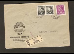 B&M., R-Brief mit Werbe-Umschlag Viktoria-Film, Umschlag doppelt verwendet.