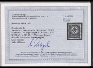 DR, Diensmarke, Mi.-Nr 177.gestempelt, Befund SchlegelBPP: