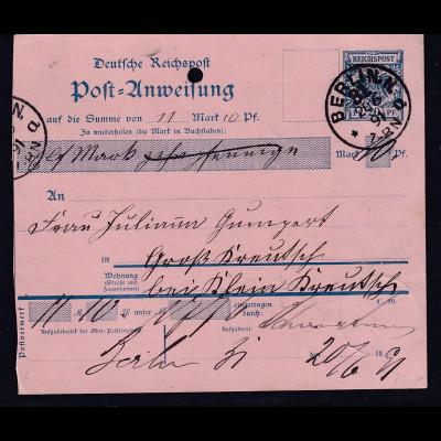 DR. Postanweisung mit Krone-Adler 20 Pf. von 1891