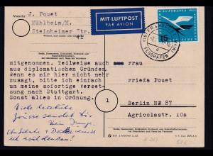 Bund EF. Mi.-Nr. 207 auf Luftpost-Fernkarte