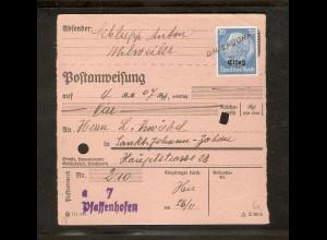 """Elsass, EF. Mi.-Nr. 9 auf Postanweisung mit Notstempel.""""Dauendorf"""""""