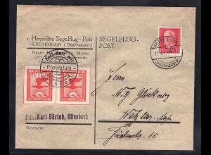 DR., Hessische Segelflug-Post Mi.-Nr. 20 auf Brief