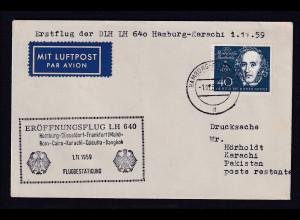Bund EF. Mi.-Nr.319 auf Luftpost-Ausland-Drucksache