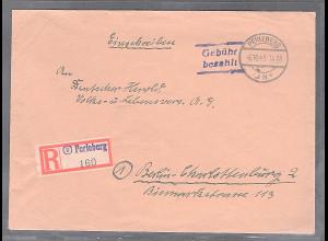 SBZ. Gebühr bezahlt Perleberg 06.10.45 als R-Brief mit AK-St.