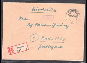 SBZ. Gebühr bezahlt Parchim 22.10.45 als R-Brief mit AK-St.