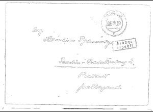 SBZ. Gebühr bezahlt Parchim 20.08.45 als Fern-Brief.