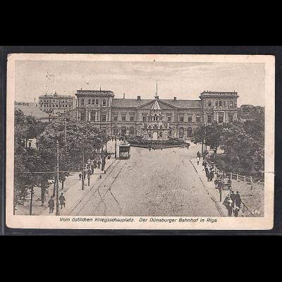 Ansichtskarten Riga, Dünaburger Bahnhof, gelaufen