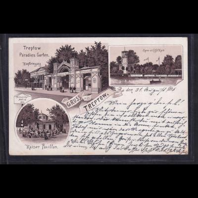 Ansichtskarten, Gruss aus Treptow bei Berlin, gelaufen.