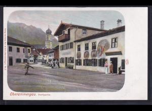Ansichtskarten, Oberammergau. Dorfpartie ,nicht gelaufen.