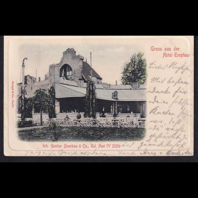 Ansichtskarten, Gruss aus der Abtei Treptow, gelaufen.